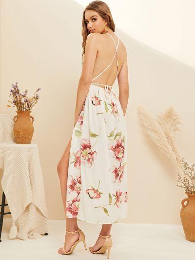 Floral Print Criss Cross Backless Split Dress