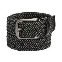 Men's Webbed Leather-Trim Belt