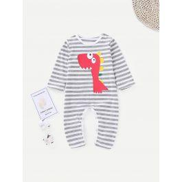 Baby Cartoon Print Striped Romper