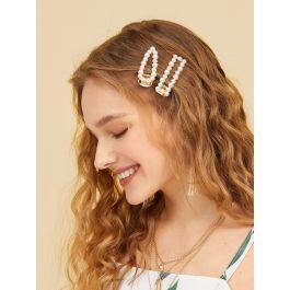 Faux Pearl Decor Hair Snap Clip 2pack