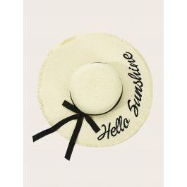 Letter Embroidery Raw Edge Floppy Hat