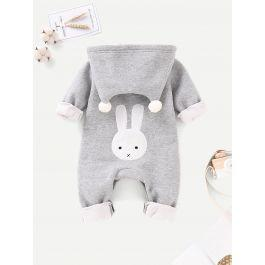 Baby Pom Pom Detail Cartoon Embroidered Hooded Jumpsuit