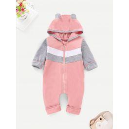 Baby Striped Zip Up Hooded Onesie