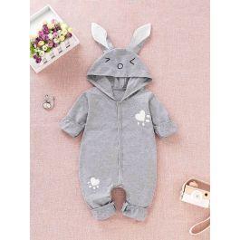 Baby Cartoon Print Button Hooded Onesie