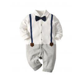 Baby Bow Tie Cut And Sew Button Through Jumpsuit