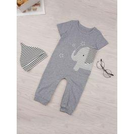 Baby Cartoon Pattern Popper Jumpsuit With Hat