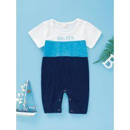 Baby Cut And Sew Panel Slogan Print Jumpsuit