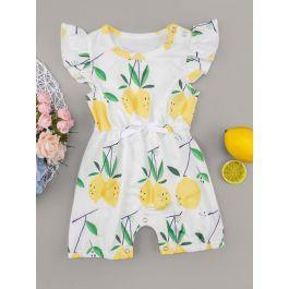 Baby Girl Lemon Print Bow Romper