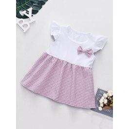 Baby Bow Gingham A-line Combo Dress