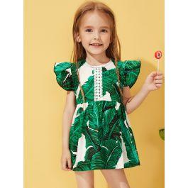 Toddler Girls Tropical Print Ruffle Sleeve Dress