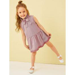 Toddler Girls Tie Frill Neck Lace Trim Dress