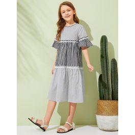 Girls 2 In 1 Frill Trim Gingham & Striped Print Dress