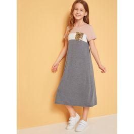 Girls Sequin Pocket Patched Colorblock Tunic Dress