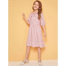 Girls Tie Neck Flounce Hem Striped Dress