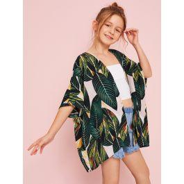 Girls Open Front Jungle Leaf Print Kimono