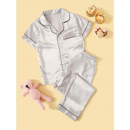 Boys Contrast Binding Button-up Satin Pajama Set