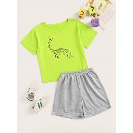 Boys Neon Lime Dinosaur Print Pajama Set