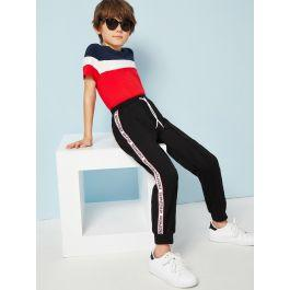 Boys Drawstring Waist Letter Tape Sweatpants