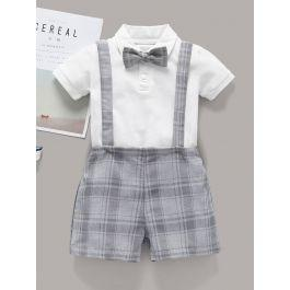 Baby Bow Front Romper With Plaid Straps Shorts