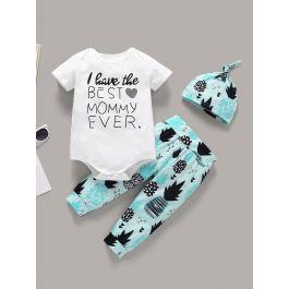 Baby Slogan Print Romper & Geometric Print Pants & Hat