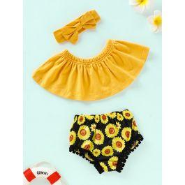 Baby Solid Bandeau & Sunflower Print Shorts & Headband