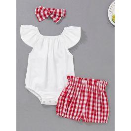 Baby Contrast Lace Romper & Gingham Shorts & Headband