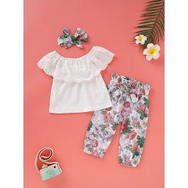 Baby Girl Eyelet Embroidery Top & Floral Print Paperbag Pants & Headband