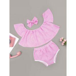 Baby Girl Striped Flare Top & Pom Pom Detail Shorts & Headband