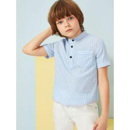 Boys Pocket Patched Buttoned Half Placket Striped Shirt