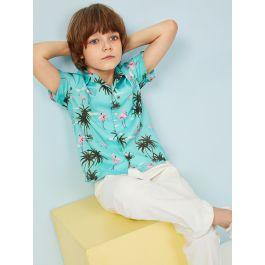 Boys Notched Collar Flamingo and Tree Print Shirt