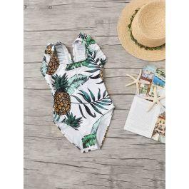 Toddler Girls Random Pineapple Print Ruffle One Piece Swim