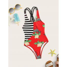 Toddler Girls Striped & Floral One Piece Swim