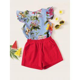 Girls Ruffle Armhole Floral Top & Shorts Set