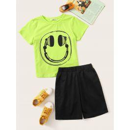 Boys Neon Graphic Tee & Contrast Shorts Set