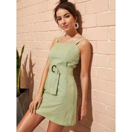 Zip Back Belted Cami Dress