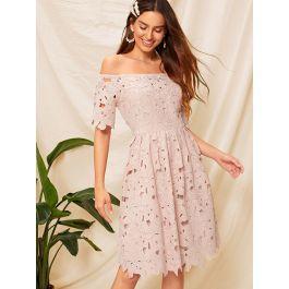 Off Shoulder Fit & Flare Guipure Lace Dress
