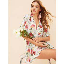 Fluted Sleeve Wrap Belted Floral Dress