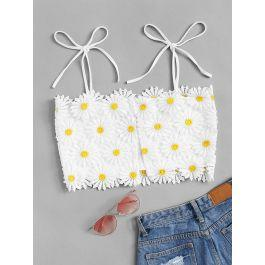 Shoulder Knot Appliques Crop Top