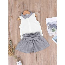 Toddler Girls Contrast Collar Top With Paperbag Waist Shorts