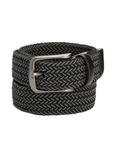 Men's Webbed Leather-Trim Belt