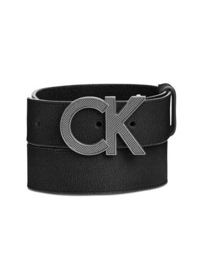 Men's Matte Leather Casual Logo Belt
