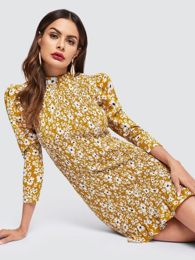 Daisy Print Ruffle Hem Shirred Dress