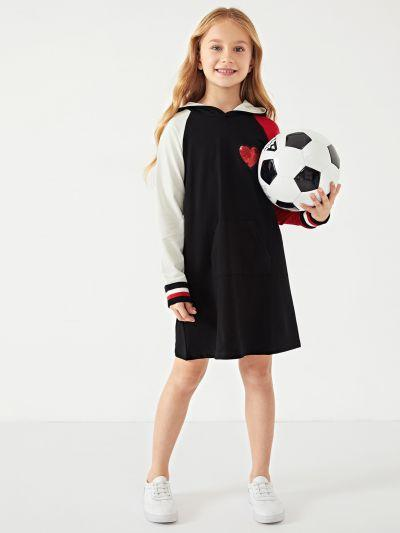 Toddler Girls Contrast Sequin Hoodie Dress