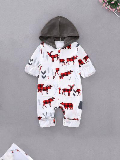 Baby Elk Print Hooded Jumpsuit