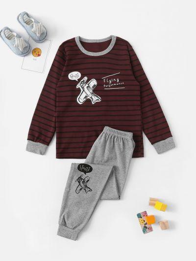 Boys Airplane Print Striped Pajama Set