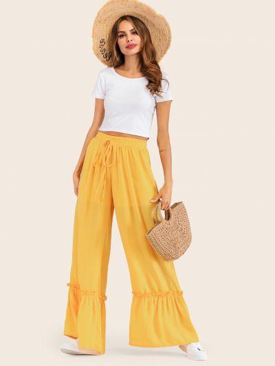 Wide Leg Drawstring Waist Pants