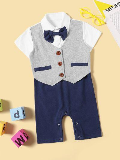 Baby 2 In 1 Bow Popper Romper