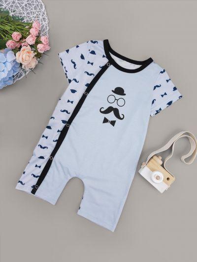 Baby Boy Mustache Print Binding Trim Jumpsuit