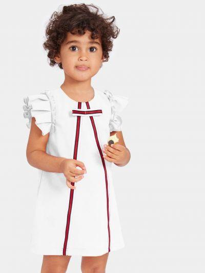 Toddler Girls Pleated Ruffle Striped Tape Detail Dress