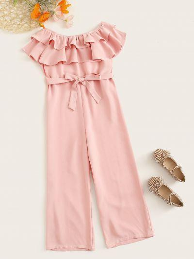 Girls Off Shoulder Ruffle Overlay Belted Jumpsuit